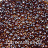 50g glass seed beads - Brown Transparent Lustered - approx 4mm (size 6/0)
