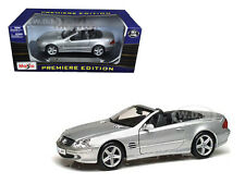 MERCEDES SL CLASS SILVER CONVERTIBLE 1:18 DIECAST MODEL CAR BY MAISTO 36623