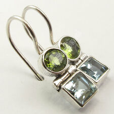 "925 Silver PERIDOT & BLUE TOPAZ Earrings 1"" SEMI PRECIOUS GEMSTONE"