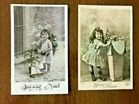 FRENCH Children, Lot of 2 antique Postcards, early 1900's, Girls with Dolls