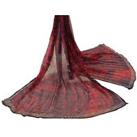 Sanskriti Vintage Dupatta Long Stole Chiffon Silk Red Hand Beaded Tie & Dye Veil