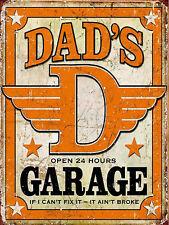 Dads Garage Retro metal Aluminium Sign vintage / man cave / garage / Shed Gift