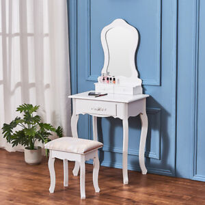 White Dressing Table w/oval Mirror 3 Drawers Stool Modern Makeup Desk Bedroom