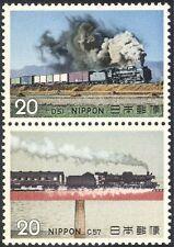 GIAPPONE 1974 Treni/macchine a vapore/Locomotive/Trasporto/Rail 2 V Set PR (n25169a)