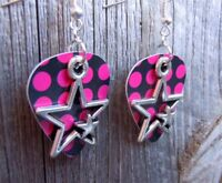 Double Star Charm Guitar Pick Earrings with Surgical Steel Earwires