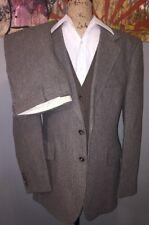 VTG Mens 42L - 3 Pc Suit JC PENNEY Tweed Wool Tailored Brown Blazer Vest & Pants
