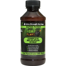 4 - 4 OUNCE BOTTLES HEMP BOMBS COMPLETE RELAXATION SYRUP PURE ORGANIC STRES FREE