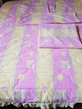 Full Double Comforter Shams Fitted Sheet Roll Pillow Cover Pink Yellow Flowers