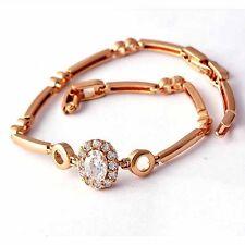 """7.6"""" Luxury Womens jewelry Diamond Flower Bracelet Rose Gold Filled"""
