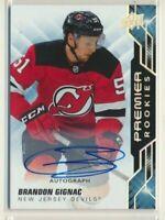 2019-20 Premier Rookies AUTO 67 Brandon Gignac New Jersey Devils