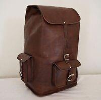 Leather Backpack Bag Travel School Hiking Men Rucksack Women Shoulder Outdoor