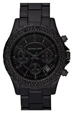 *out of This World* Michael Kors Black Pave Chronograph *blackout* Watch MK5376