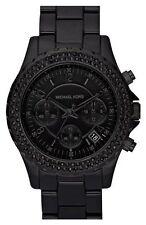 MICHAEL KORS BLACK TONE, BLACK ACRYLIC BAND CHRONOGRAPH CRYSTALS WATCH-MK5376