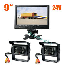 "9"" Car LCD Monitor Rear View Kit + 2x 18 LED IR Reversing Backup Camera 12V-24V"