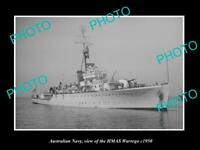 OLD POSTCARD SIZE PHOTO OF AUSTRALIAN NAVY SHIP HMAS WARREGO c1950