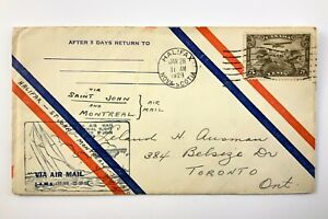 1929 Canadian First Flight Commemorative Covers Halifax-Toronto Envelope 898B