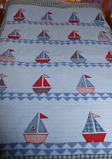"""Handmade 70"""" x 86"""" Quilt Nautical Sail Boats with Plaid Back"""