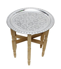 Moroccan Aluminium Tray Table Folding Cedar Wood Legs Handmade Small 40cm (ATT1)