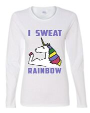I Sweat Rainbows Women's Long Sleeve Tee Fabulous Unicorn Gym Workout Fitness