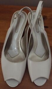 Bandolino NAVEEN Ivory Cream Leather Peep Toe Slingback Wedge Sandals 8.5 M