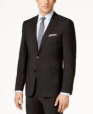 $895 HUGO BOSS Mens Slim Fit Wool Sport Coat Black Solid SUIT JACKET BLAZER 48L