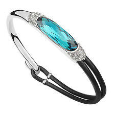 18K White Gold Plated Leather Bracelet made with Swarovski elements crystal
