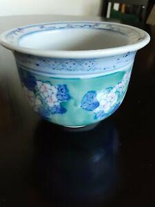 Asian Ceramic Fishbowl Planter Jardiniere Blue White Green Floral