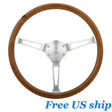 15inch Wooden Grain Silver Brushed Spoke Steering Wheel Classic Wood Horn Kit