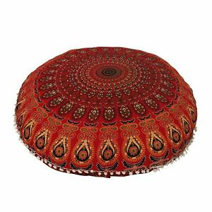 """Red Peacock  100% Cotton Large Mandala Round Floor Cushion Cover 32"""" Inch"""