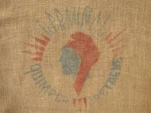 Printed Hessian Sack Vintage French burlap agricultural use sack for decor frame