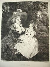 """EAU FORTE : ECOLE ANGLAISE """" LA VEUVE ET SON ENFANT """" RENOLD .1723-1792"""