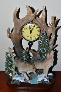 Howling Wolves Battery Operated Mantel Clock, Unique Gift