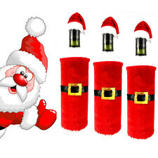 2Pcs Christmas Santa Clause Clothing Hat Dress Wine Bottle Cover Decoration red