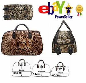 New Patient Animal Head Leopard Trolley Handbag Travel Holdall vintagebag 2 Size