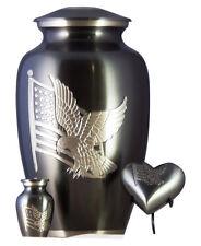 American Flag Funeral Cremation Urn For Ashes, Set of 3 - Adult, Keepsake, Heart