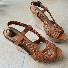 Womens New Look tan brown wedge sandals size 5