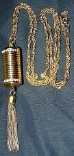 VINTAGE LONG NECKLACE  DANGLE PENDANT WATCH WITH TASSEL~SIGNED: JOAN RIVERS