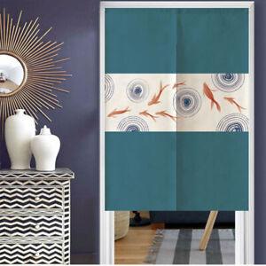 Japanese Noren Hanging Door Curtain Room Divider Decor Koi Fish Printed Retro