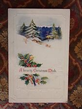 Vintage Postcard A Hearty Christmas Wish, Winter Landscape Scene With House