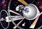 "1970's NASA Space Settlement Cylindrical Exterior Art Print 13"" x 19"" Reprint"