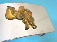 Older Belt Buckle Silver Tone Western w Brass Horse Saddle 2 1/2 x 1 1/4