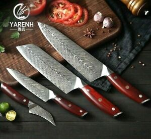 Chef Santoku Paring Utility Knife Set 67 Layers Damascus Steel Wood Handle Cut L