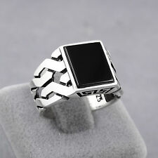 Turkish Handmade Jewelry Black Onyx Stone 925 Sterling Silver Men's Ring (MR-43)