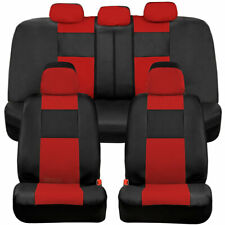 BDK Full Set PU Leather Car Seat Covers - Front & Rear Two-Tone in Black & Red