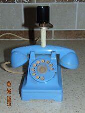Vintage Blue Plastic Rotary Type Telephone Lamp