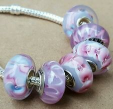 Pink Lavender Purple Wild Flower Stripes Single Core European Murano Glass Beads