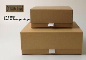 Gift Box Magnetic Kraft Brown Birthday Children Hard Craft Boxes  Decoupage UK