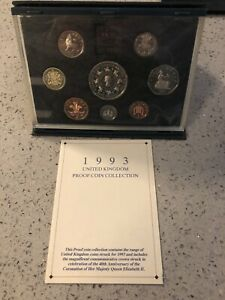 1993 UK Proof 8-Coin Collection In Royal Mint De Luxe Case & COA