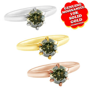 1/2 Ct Round Green Genuine Moissanite Solitaire Engagement Ring 10K Solid Gold