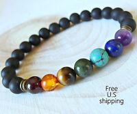 7 Chakras bracelet Wrist Mala Reiki Charged Energy Boho Tribal Bracelets Yoga